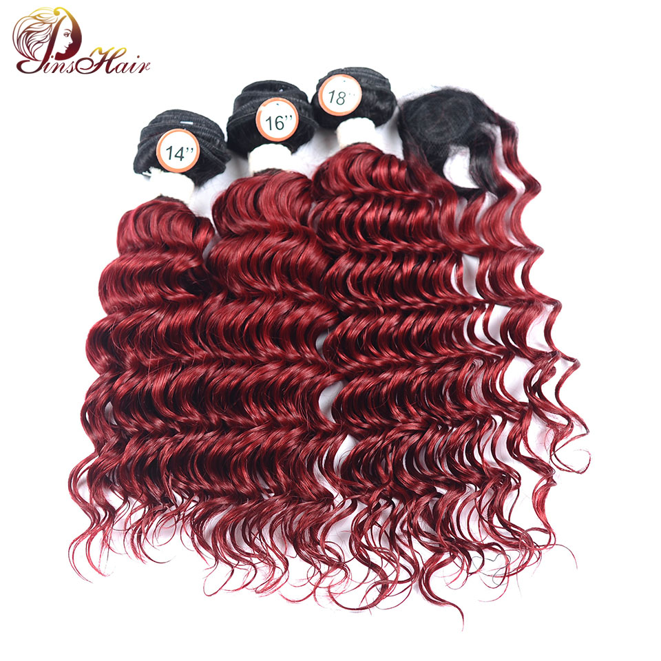 1B 99J Peruvian Ombre Hair 3 Bundles With Closure Bold Red Burgundy Deep Wave Bundles With Closure No Shedding Pinshair Non Remy