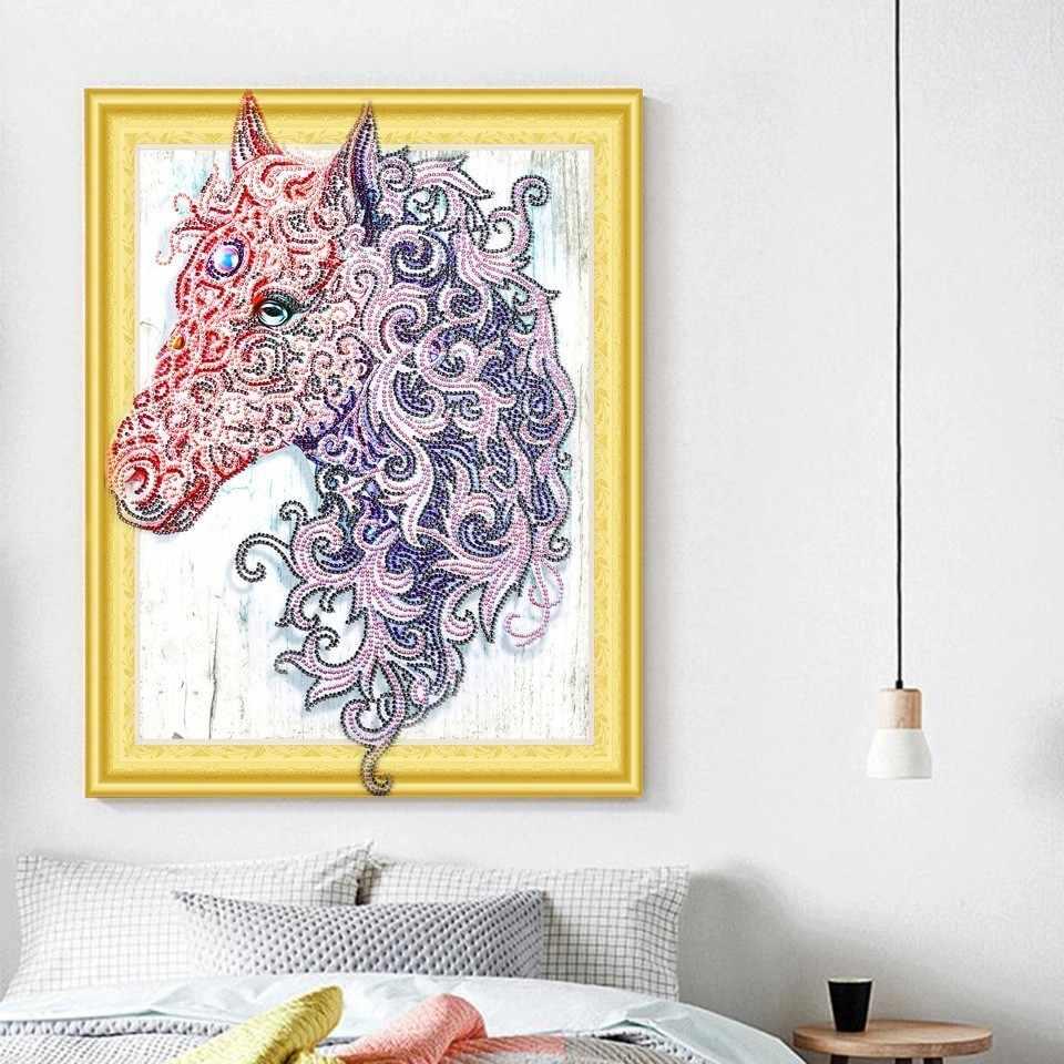 AZQSD יהלומי ציור בעלי החיים מיוחד בצורת חלקי קיר אמנות DIY יהלומי רקמת סוס עגול תרגיל בית תפאורה 5D מתנה