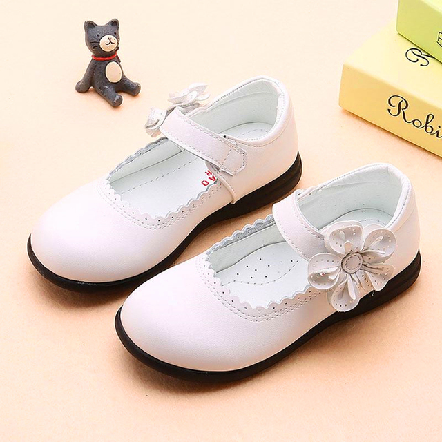 Classic Girls Flowers Children PU Leather Single Shoes For Teens Girls Kids Party Wedding Dance Princess Dress Shoes In School
