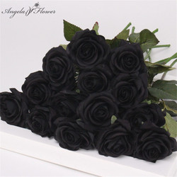 PU real touch artificial black rose tulip gorgeous latex flower stamens wedding fake flower dcor home party memorial 15PCS/LOT