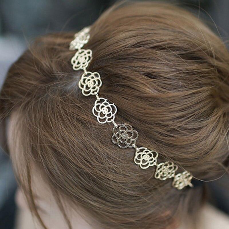 44e0dda5b 2 قطع إمرأة الأزياء سلسلة معدنية مجوهرات الجوف روز زهرة مطاطا هيرباند شعر  مضفر أدوات إكسسوارات الشعر للنساء