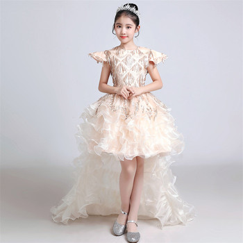 2019Summer New Fashion Luxury Children Girls Model Show Long Tail Dress Kids Teens Champagne Birthday Evening Party Prom Dress