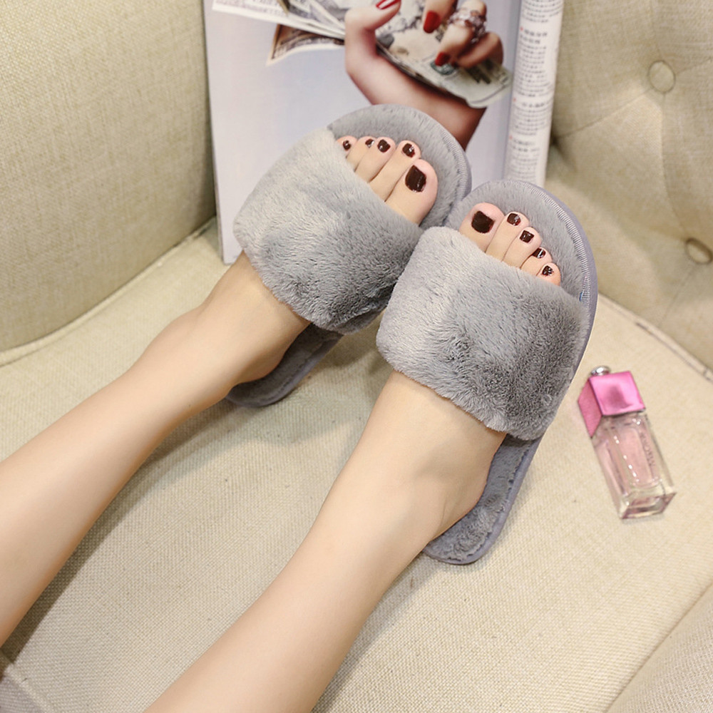 2018 chinelos de ver o feminina zapatos mujer Womens Ladies Slip On Sliders Fluffy Faux Fur Flat Slipper Flip Flop Sandal  #7