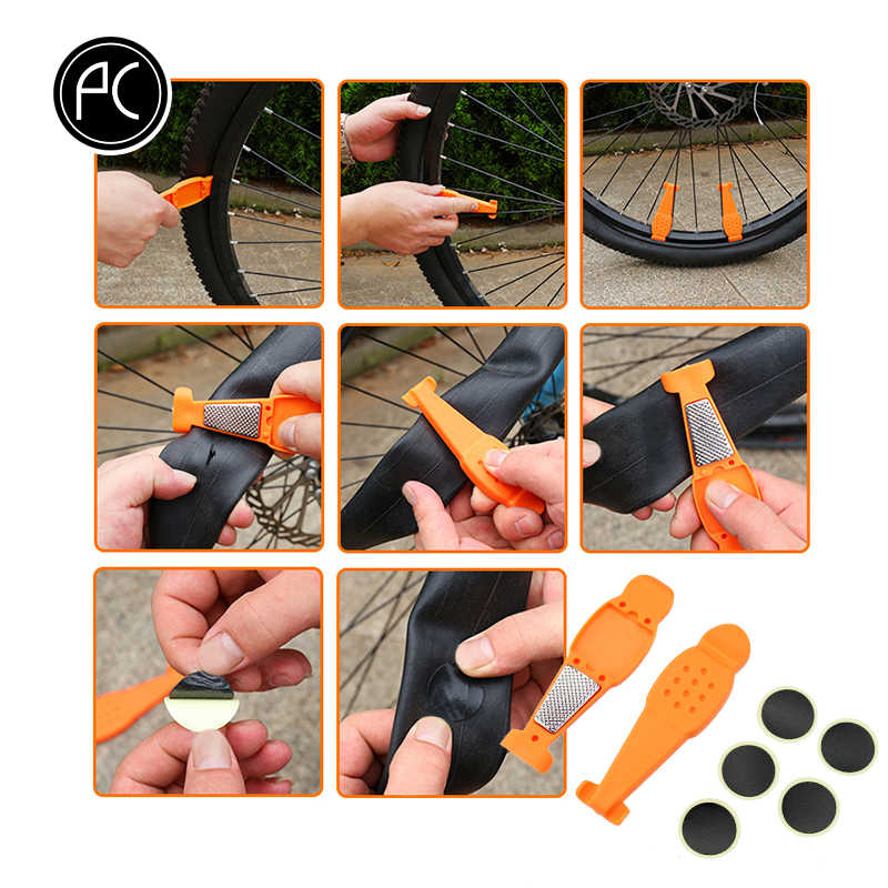 Pcycling 3 In 1 Fiets Gereedschap Band Reparatie Kits Bike Tool Tire Lepel Band Geen Lijm Patch Band Chippen Mtb racefiets Mini Tool
