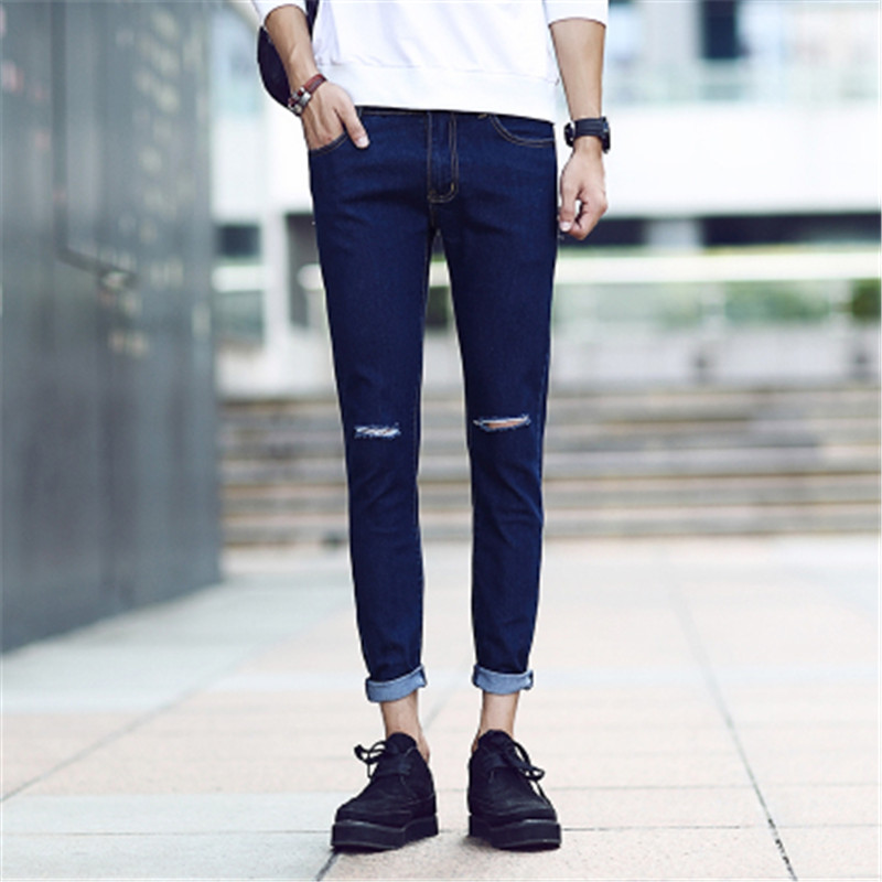 2017 Hot selling fashion spring summer youth nine cents jeans male Slim hole elastic students 9 points feet pants couple pants