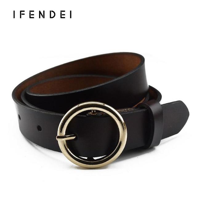 147c2048fc IFENDEI Belt Women Round Buckle Cowhide Leather Belt Female Luxury Wild  Thin Belt Decoration Belts Jeans Wine Red White Waist-in Belts &  Cummerbunds ...