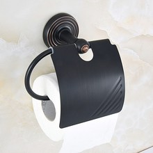 Bathroom Accessory Black Oil Rubbed Bronze Wall Mounted Toilet Paper Roll Holder aba133 modern wall mounted bathroom oil rubbed bronze with ceramic toilet paper holder waterproof