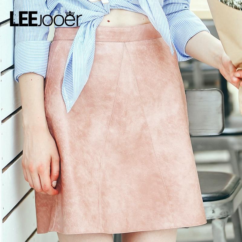 Leejooer 2017 юбка женщины винтаж кожа замша юбка-карандаш высокая талия юбка bodycon короткие юбки женщин