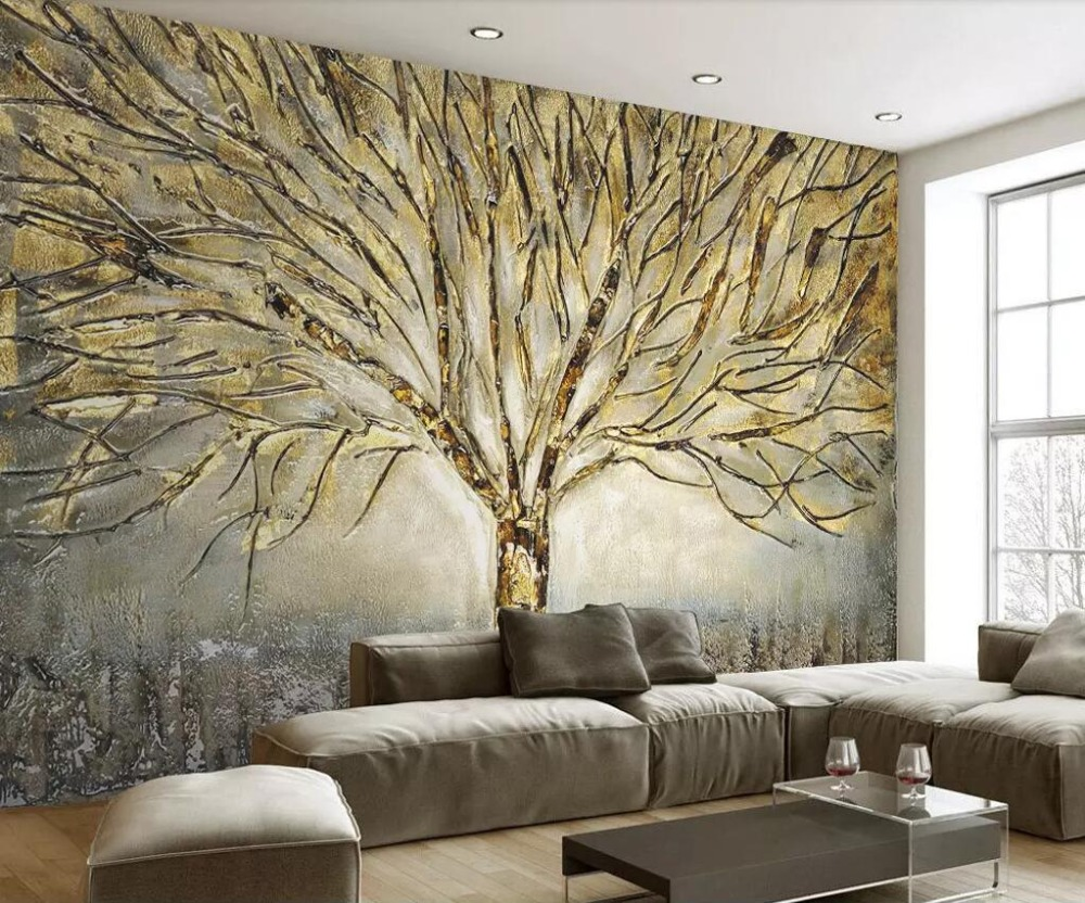 US $8 85 OFF Wellyu Custom Wallpaper 3d Photo Murals Modern American Metal Embossed Fashion A Tree Oil Painting TV Background Wall Paper