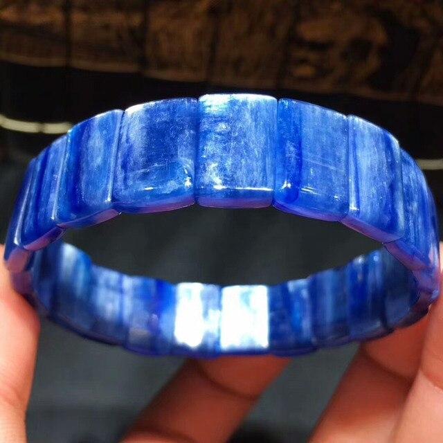 4961bb31cf72 Genuino Natural azul cianita piedra preciosa del ojo de gato efecto  Rectangle Beads estiramiento brazalete BraceletsGemstone