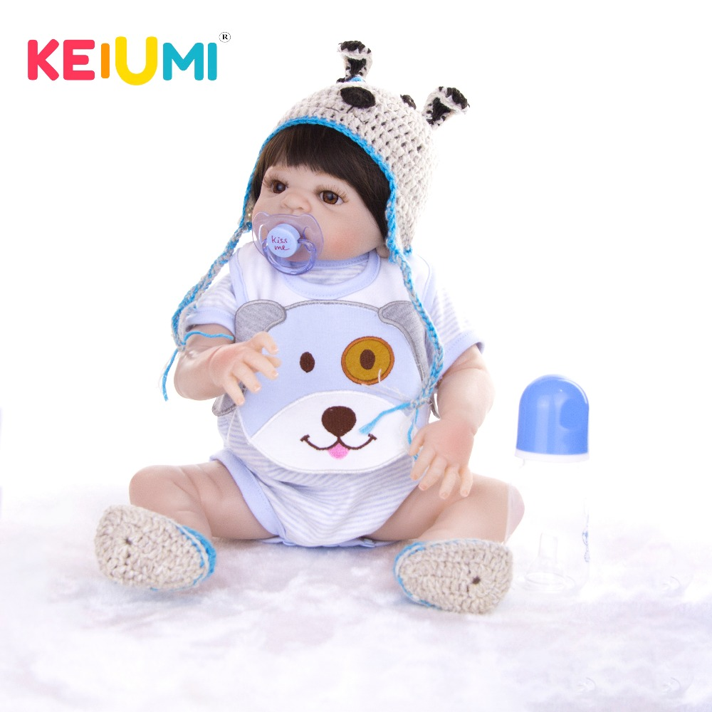 KEIUMI 2019 NEW Reborn Baby Boy Doll Baby Toy Full Silicone Vinyl Reborn Baby Dolls Fashion Child Birthday Gifts-in Dolls from Toys & Hobbies    1