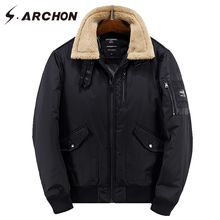 S.ARCHON Winter Thick Warm Army Parka Coat Military Tactical Bomber Jackets Men Casual Fur Collar Wool Windbreaker Pilot Jackets