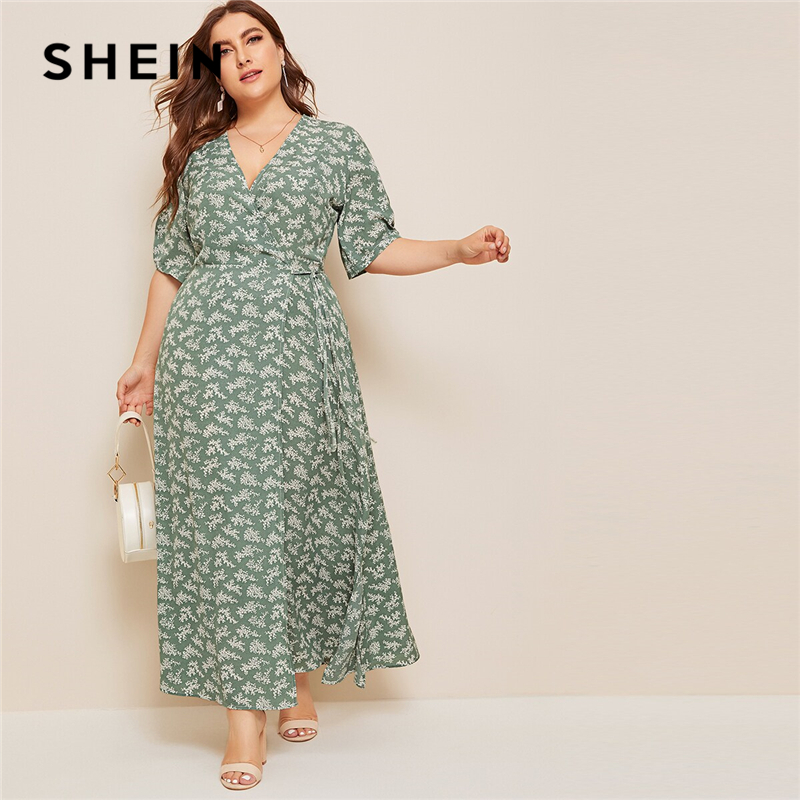 SHEIN Plus Size Ditsy Floral Knot Side Wrap Maxi Dress Women Summer Autumn Half Sleeve V Neck Fit And Flare Boho Empire Dresses
