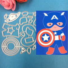 1pcs super hero America Captain Cutting Die Stencils for DIY Scrapbooking Album Stamp Paper Card Embossing