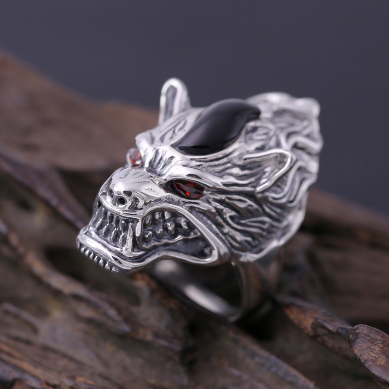 silver S925 men's personality retro ring ring finger silver Wolf Totem Wolf floral personality rotating silver index finger ring s925 silver turning ring
