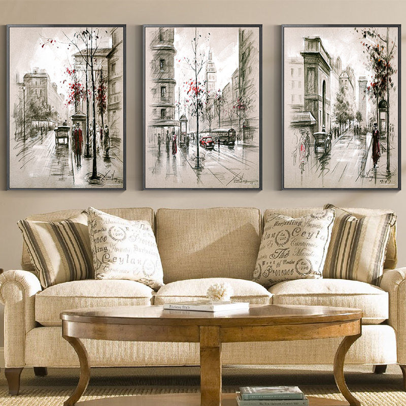 Cny Home Decor: New York Canvas Painting Abstract Nostalgia City Street