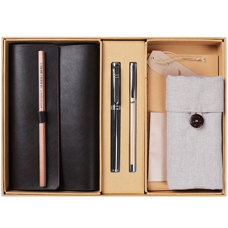 Deli Business Notebook Set Vintage Soft Pu Leather Cover Meeting Travel Diary Book With A Gel Pen  Stationery Office Gift Set