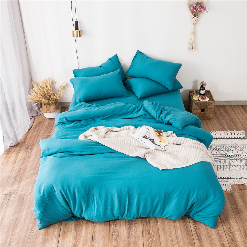 Pure color washed cotton Bedding Set 3/4pcs quilt cover Pillowcases comforter cover bed linen bed set twin queen king BedclothesPure color washed cotton Bedding Set 3/4pcs quilt cover Pillowcases comforter cover bed linen bed set twin queen king Bedclothes