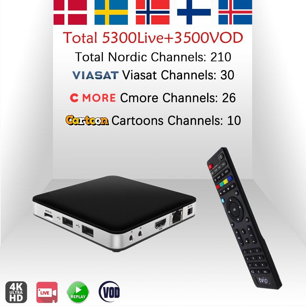 TVIP605 TV Box Sweden IPTV Nordic Norway Finland Europe IPTV Amlogic S905X H 265 WiFi Android