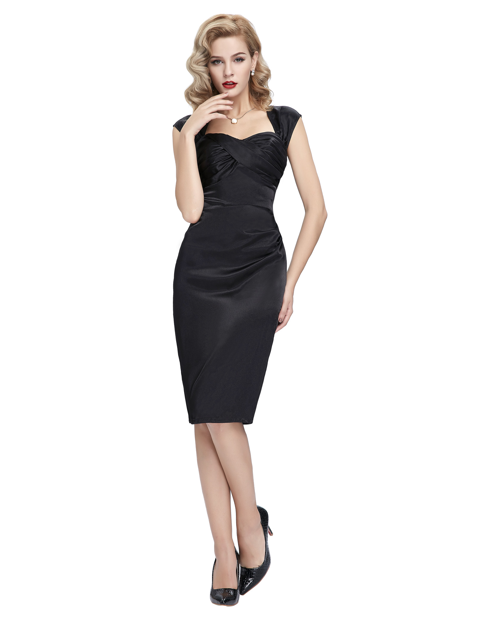 Retro Vintage Style 40s 1950s Bodycon Pin Up Evening Party Wiggle Pencil Dress