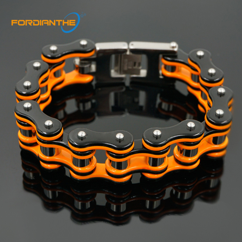 Trendy Jewelry Motorcycle Chain Bracelet Men Biker Bicycle Orange 20cm Men's Chain & Link Bracelets Stainless Steel 316L sda 24mm width punk 316l stainless steel bracelet men biker bicycle motorcycle chain men s bracelets mens bracelets