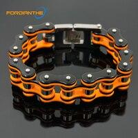 Trendy Jewelry Motorcycle Chain Bracelet Men Biker Bicycle Orange 20cm Men's Chain & Link Bracelets Stainless Steel 316L