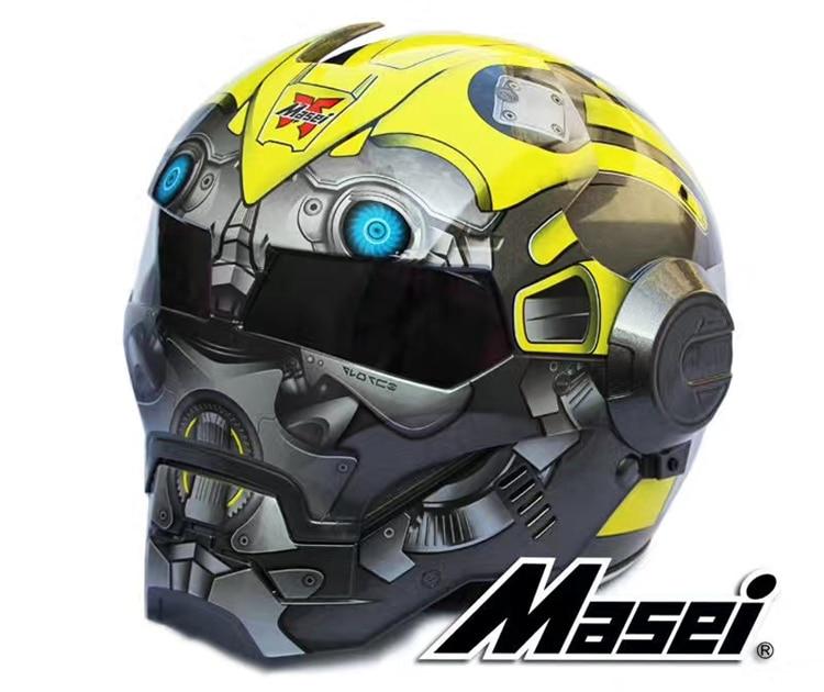 Masei 610 Железный человек moto rcycle шлем moto rcycle аксессуары casco moto желтый Шмель полный шлем Capacetes Бесплатная доставка