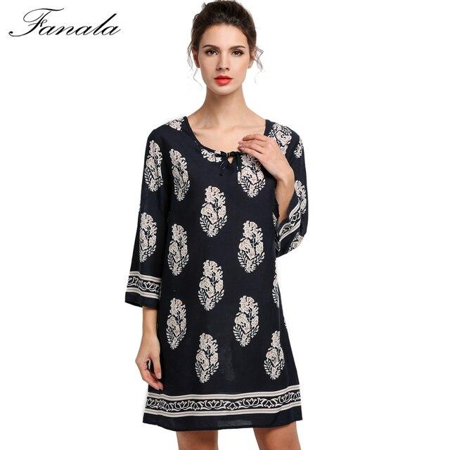 1668fb3ffd1 Women Summer Dress Floral Fashion Casual O-Neck 3 4 Sleeve Comfortable  Beautiful Hot Nice S M L XL Mini Beach Dress