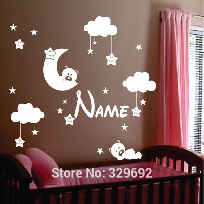 Personalized Name baby nursery room moon and star vinyl wall stickers, cute smiling stars with white clouds baby room decor
