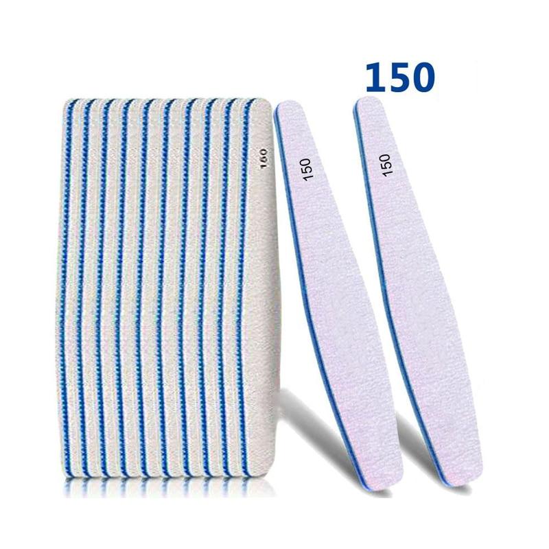 50pcs Professional Grey Nail Files Sanding 150/150 Nail Art File Nail Buffer Sandpaper Manicure Pedicure Polishing Nail Tools
