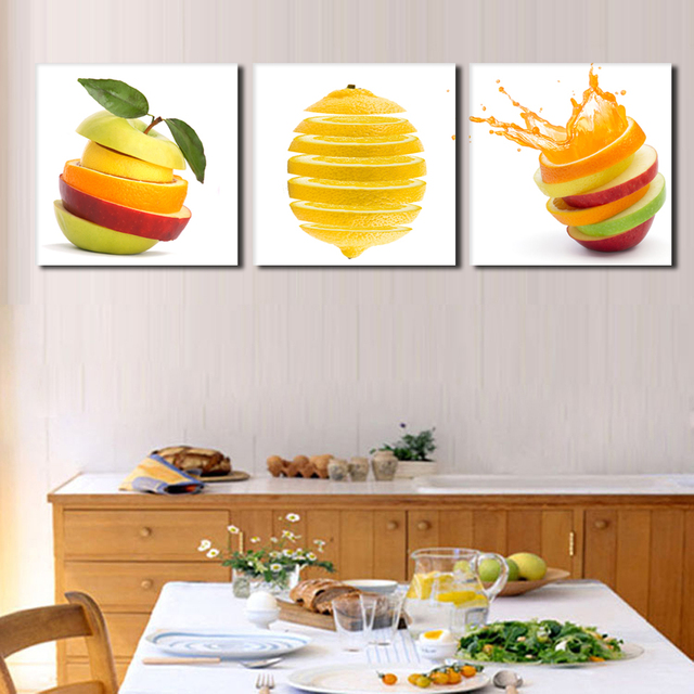 3 Pieces Kitchen Wall Pictures Fruit Painting Print On Canvas Green Apple Oranges Cuts Modern Dining Room Picture