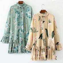 42d0eb03f5 BOHO INSPIRED mint floral long sleeve Spring summer dress 2019 V-neck  ruffles hem mini
