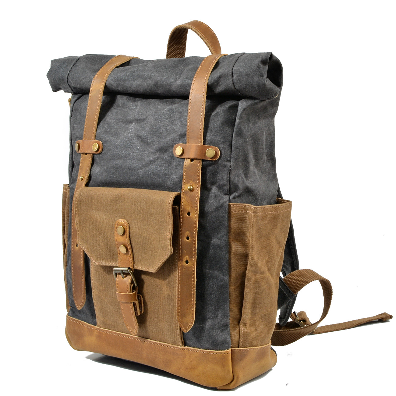 2018 Men Vintage Military Backpack Large Capacity Waterproof Oil Leather Wexed Canvas bags Travel Bag School Rucksack Backpack augur men s messenger bag multifunction canvas leather crossbody bag men military army vintage large shoulder bag travel bags