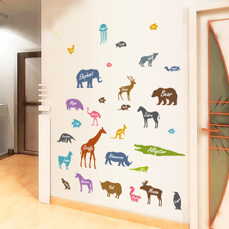 Animal Silhouette Wall Sticker For Kids Children Rooms Home Decoration Decals Nursery Wallpaper Animals Combination Stickers