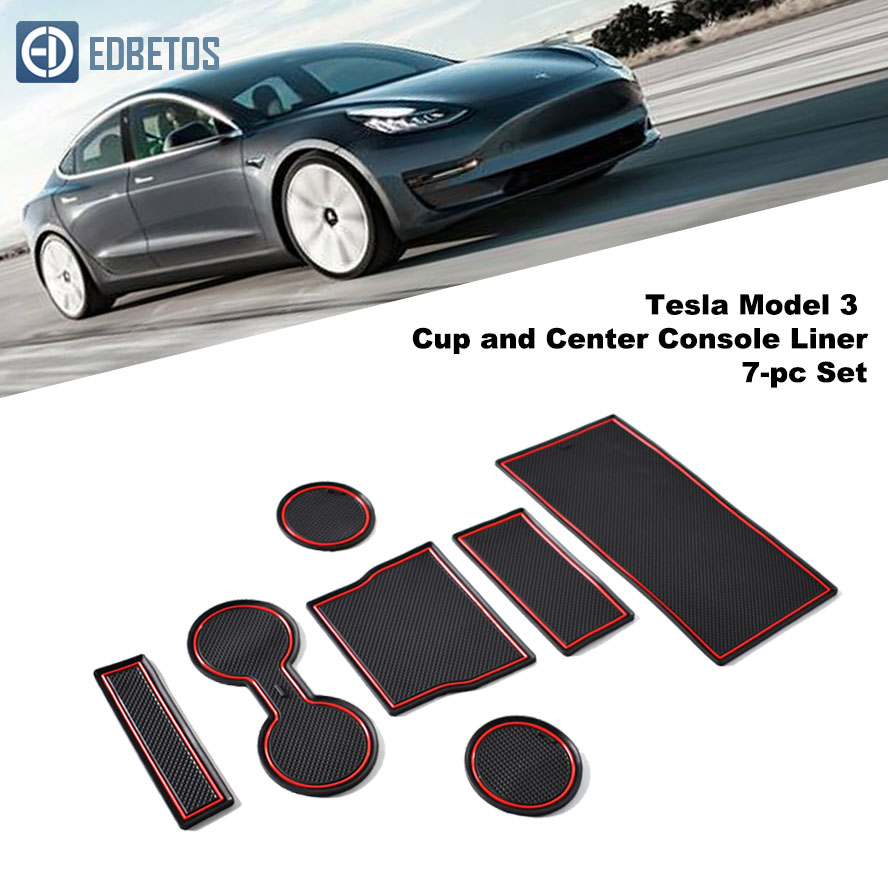 7 Pcs Cup Holder /& Center Console Car Mat Liner for Tesla Model 3 with Red Trim