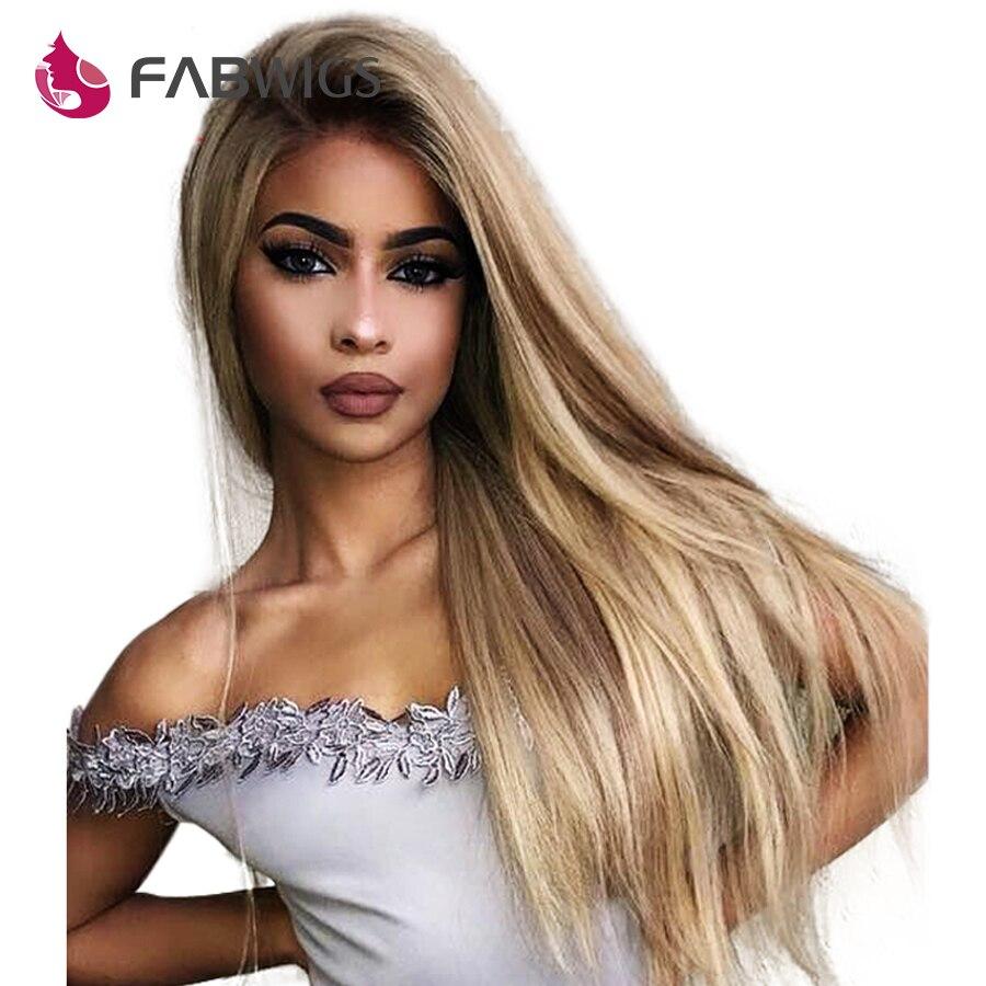Fabwigs Ombre Blonde Lemi Couleur Dentelle Avant de Cheveux Humains Perruques 180% Densité T4/27/613 Brésilien Dentelle Avant perruque avec Bébé Cheveux