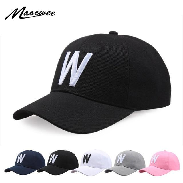 e759f9f69 Algodão Bordado Letra W Boné de Beisebol Para Mulheres Dos Homens Snapback Cap  chapéu Esportes Caps
