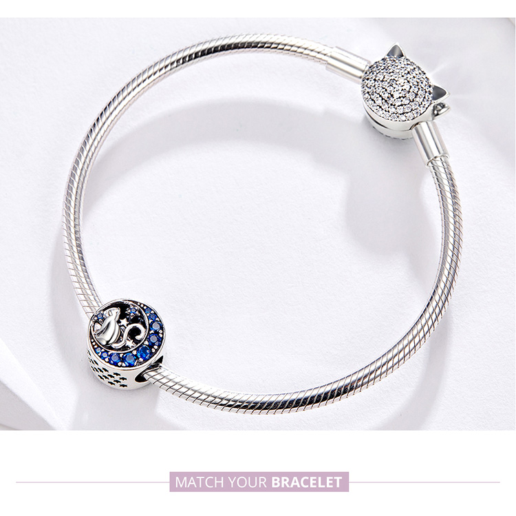BAMOER Silver S925 Beads Sterling Silver 925 Blue Moon Naughty Cat Pet Charms for Bracelet Bangle DIY Jewelry Making SCC1204