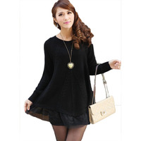 Fall And Winter Clothes 2017 New Women Pullovers Korean Wild Thick Lace Loose Slim Was Thin