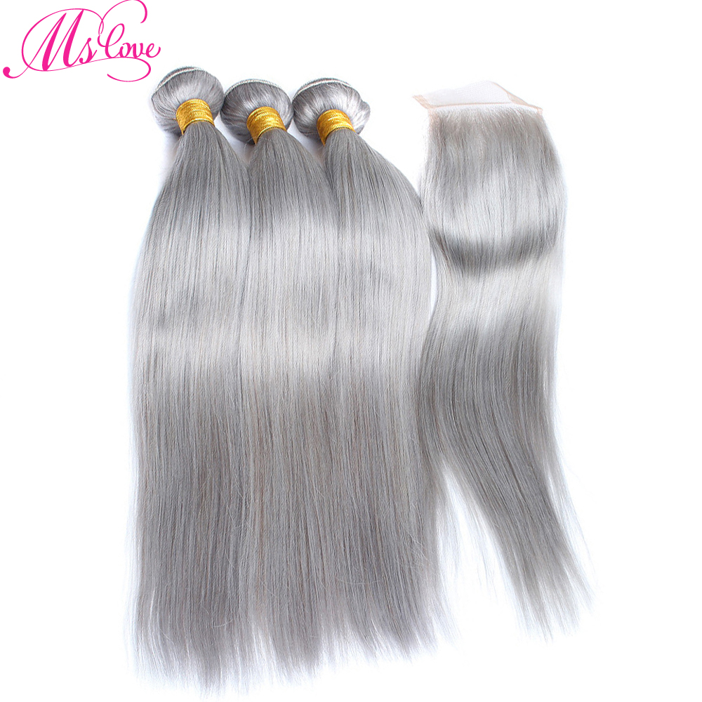 Ms Love Grey Bundles With Closure Straight Peruvian Hair With Closure Remy Human Hair Bundles With