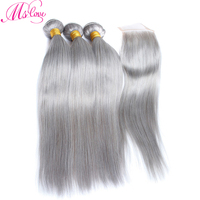 Ms Love Grey Bundles With Closure Straight Peruvian Hair With Closure Remy Human Hair Bundles With Lace Closure 4*4