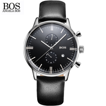 ANGELA BOS 2016 new men's quartz watch men real three-dial bright waterproof 30 M outdoor sports leather strap relogio masculino