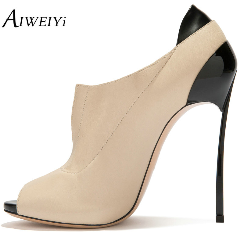 Peep Haute forme Robe Chaussures Femmes Slip Heeled High Plate Office Stiletto Aiweiyi 10cmbeige Lady on Talons Femme Toe Pompes 12cmbeige Métal xXWSU8wq58