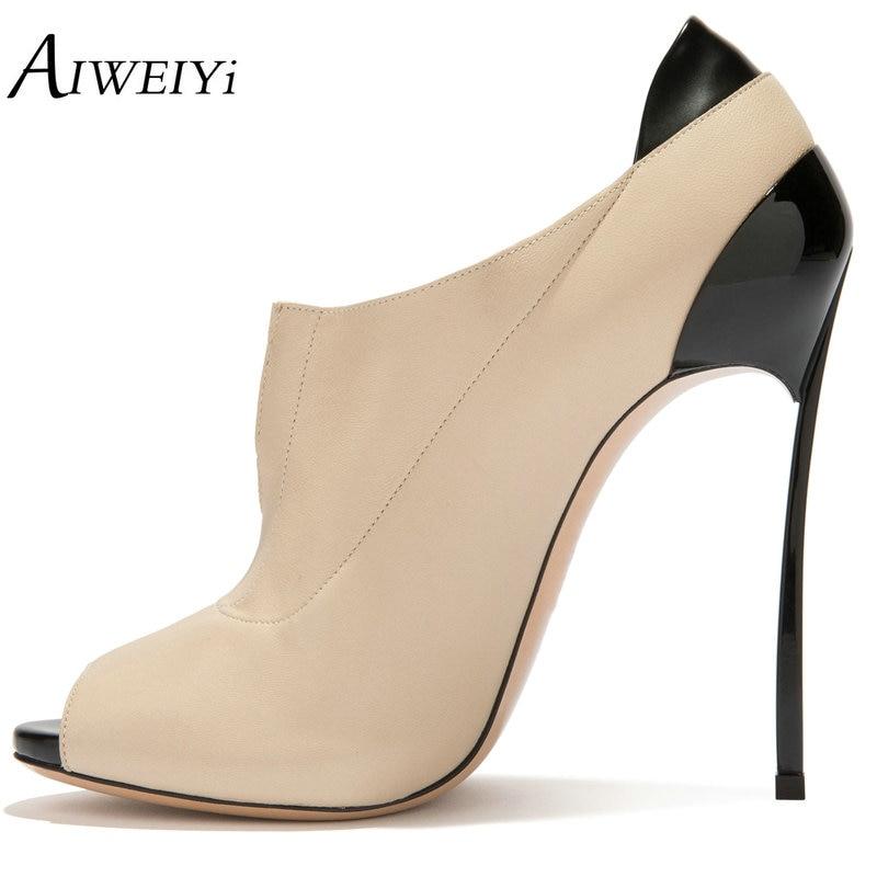AIWEIYi Women Peep Toe Pumps Metal High Heels Platform Shoes Woman Stiletto High Heeled Pumps Slip-On Office Lady Dress Shoes цена