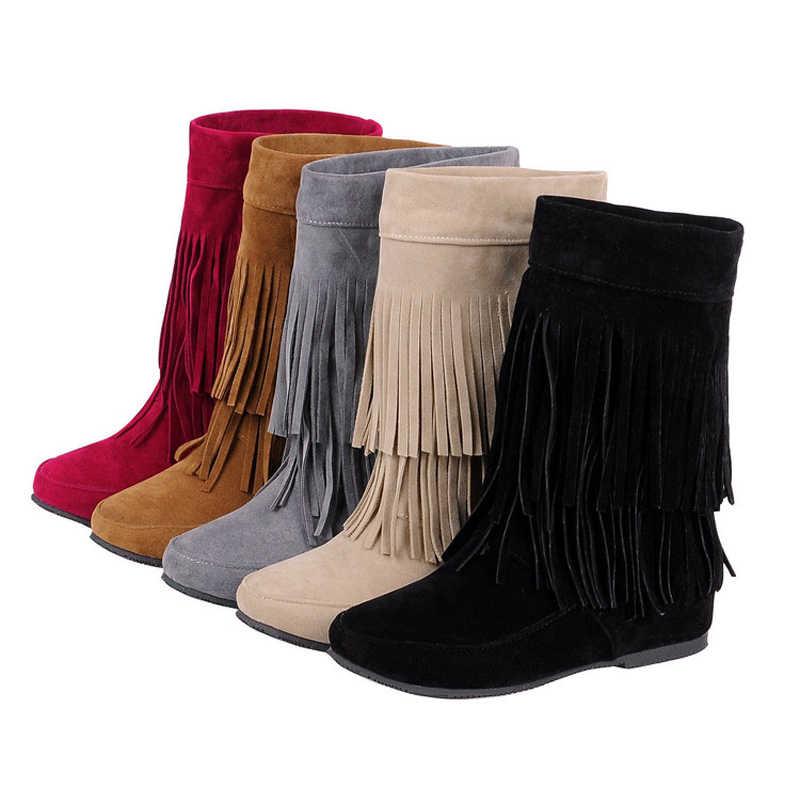boca Respectivamente Lágrimas  Zapatos con cuña oculta para mujer, botas de tacón con borla en el tobillo  de tendencia nacional, C253|Botas hasta el tobillo| - AliExpress