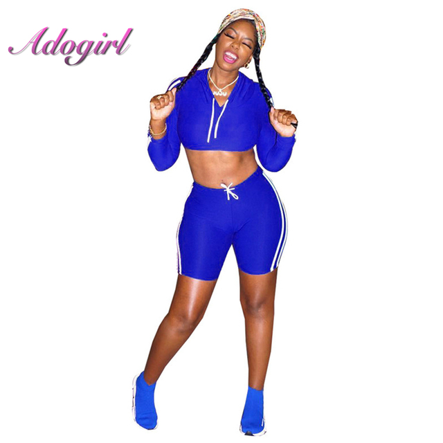 98a2df6c4a White Stripe Two Piece Set Clubwear Women Tracksuit Long Sleeve Hooded Sweatshirts  Crop Top and Shorts