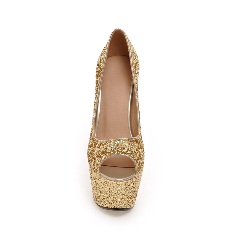 Heels High Pumpen gold 43 Sexy 16 Dünne Große Schuhe silber weiß Neue Frauen Oberen Peep Sommer Schwarzes Doratasia 32 Bling Partei Toe Cm Größe fnaxwx1qZH