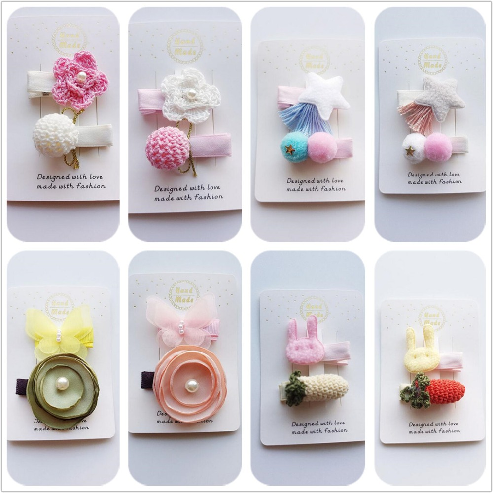 4pcs Kids girl Handmade hair Accessories Knitted flower pompom Hair Clips star bunny Hairpins barrette toddlers   headwear
