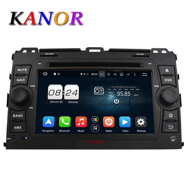 KANOR Android 6 0 Car DVD GPS Player 1024 600 Eight Core For Toyota Prado 120