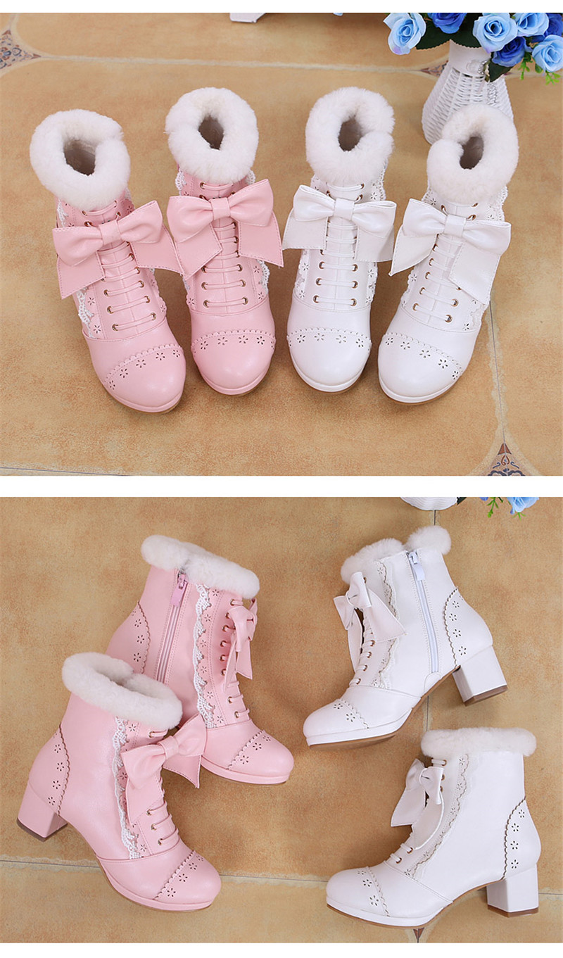 Sweet Japanese Beauty Women Ankle Boots Winter New Lace Bow Snow Boots For Women Lace Up Platform Thick High Heels Lolita shoes (9)